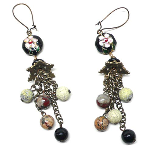 - Multi-Gemstone Cluster Drop Earrings Chain Dangle Chinese Cloisonne Enamel OOAK