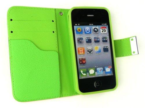 Emartbuy® Apple Iphone 4G / 4Gs / 4S Luxury Desktop-Ständer Wallet Fall / Abdeckung / Pouch Blocks Grün / Orange / Weiß Mit Credit Card Slots