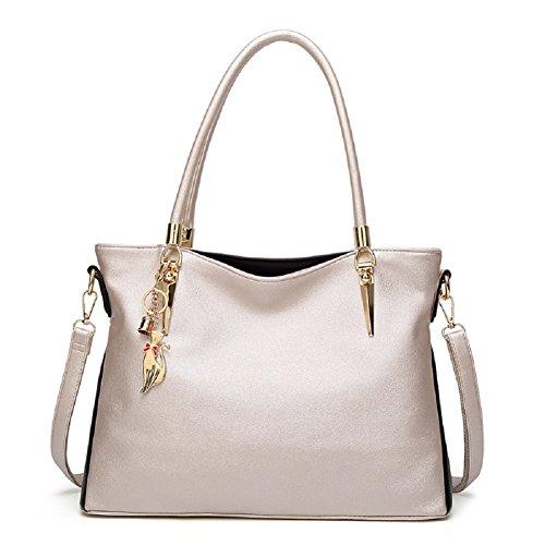 Oudan Bolso elegante de la mujer del bolso de mano de la moda del bolso de mano de la bolsa de asas elegante del bolso de mano de la bolsa de asas con el ornamento Rosado