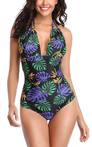 Eomenie Womens One Piece Swimsuits Monokini Tummy Control Swimwear Plus Size Bathing Suits High Waisted Halter V Neck Backless (L/US:12-14, Print#37)