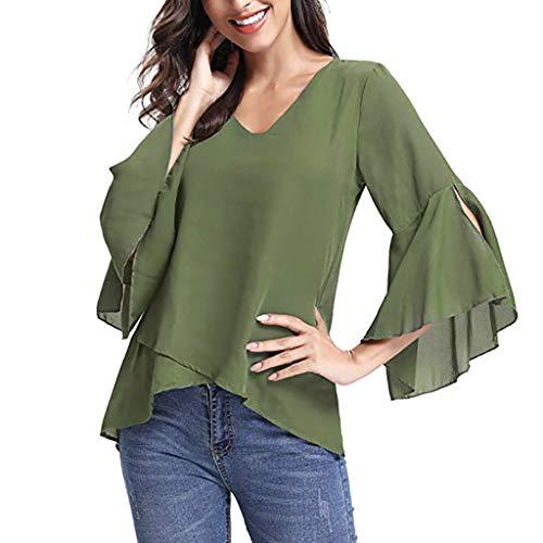 (LISTHA Casual Chiffon Blouse for Women 3/4 Peplum Sleeve Tops Solid V Neck Shirt)