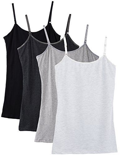 Caramel Cantina Shelf Bra Cami Tank-Top in Assorted Colors 2 or 4-Pack (Large, Blk/Grys)