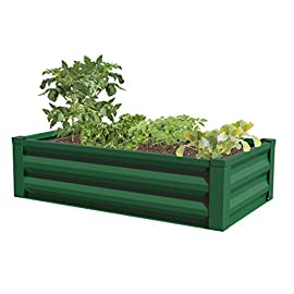 "Greenes Fence Powder-Coated Metal Raised Garden Bed Planter 24"" W x 48"" L 3 Open bottom garden bed Made from pre-galvanized powder-coated steel No tools required: assembles with keyhole locking mechanism"