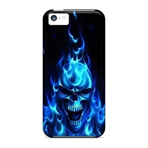 FlowerCase Fashion Protective Blue Flaming Skull Case Cover For Iphone 5c