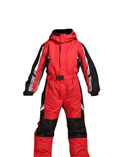 Genma0 One-Piece Snowsuit Waterproof Windproof Taslon Reflective for Kids/Boys, Girls (RED, 12) (Piece Suits Snowboard One)