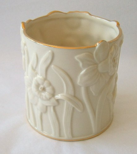 Lenox - Daffodil Design Votive Holder Ivory Color with Gold Trim Tea Candle Included # 827884