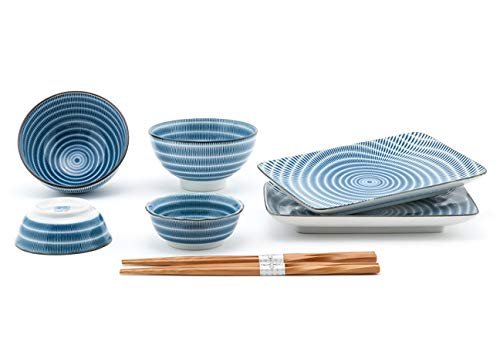 Happy Sales HSDS-FCSBLU, 10 Piece Japanese Dinnerware Sushi Plate Set, Blue Tokusa
