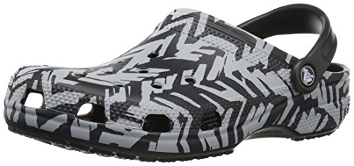 Crocs Classic Graphic II Clog, Light Grey/Black, 8 US Men / 10 US Women by Crocs