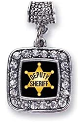 Deputy Sheriff Cop Charm Fits Pandora Bracelets & Compatible with Most Major Brands such as Chamilia, Murano, Troll, Biagi and other European Bracelets