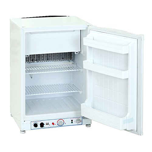 SMETA Propane Refrigerator Freezer 110V/12V/Gas RV Boat Apartment Fridge,White,3.5 cu ft