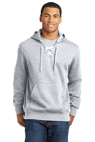 (Sport-Tek Men's Lace Up Pullover Hooded Sweatshirt L Athletic Heather)