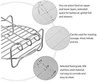 Edmund K/üchenfritteuse Rack 6 Zoll Luftfritteuse Rack Tragbare Edelstahl /Öl Frittier Rack Doppelschicht Spie/ß Rack K/üche Kochzubeh/ör f/ür Restaurant zu Hause