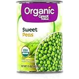 (1) Organic Great Value Sweet Peas 15 oz