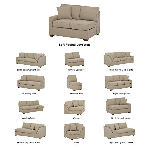 - Stone & Beam Bagley Sectional Component, Left-Facing Loveseat, Fabric, 52