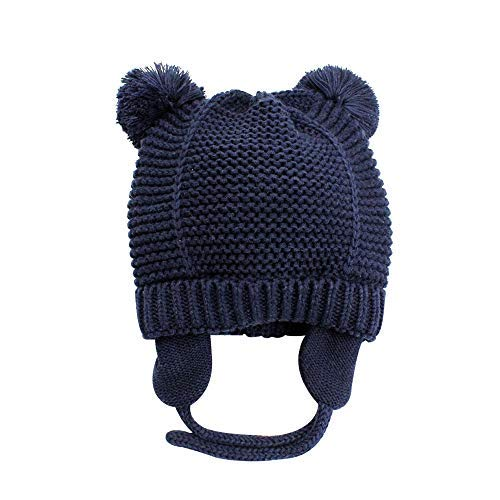 XIAOHAWANG Baby Boys Girls Hats Cute Pompom Ears Knit Winter Caps Toddler Earflap Beanies (0-7Months, Navy 2)
