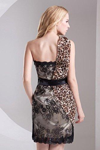 Kleid BRIDE Schulter Leopard Ein Schwarz Reizvolle Kurz GEORGE wYqxU84q