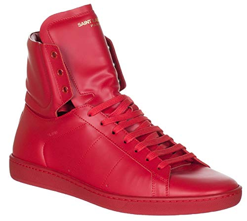 Saint Laurent Men's Red Leather SL/01H High Top Sneakers Shoes, Red, US 9 / EU 42 (Yves St Laurent Shoes)