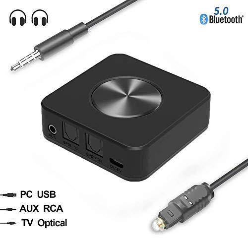 XFZK Bluetooth 5.0 Receive Transmitter Fiber Optic Bluetooth Adapter Bluetooth Transmitter Receiver 2-in-1 HD Low Latency Audio Music Transmitter