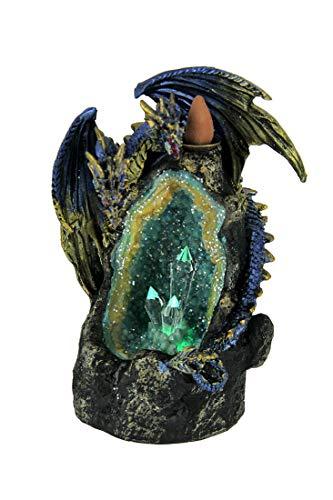 Everspring Blue Dragon On LED Geode Crystal Stone Incense Burner