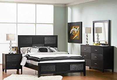 4pc King Size Bedroom Set with Wood Grain in Black Finish