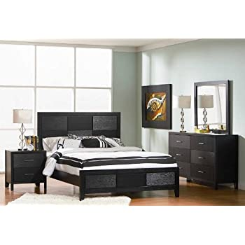 This Item 4pc Queen Size Bedroom Set With Wood Grain In Black Finish