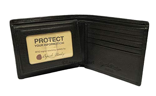 Osgoode Marley Leather Mens RFID Security Passcase Bifold Wallet (Black) ()