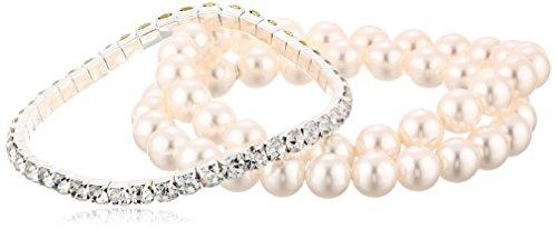 Cream Simulated Pearl Stretch Bracelet Set
