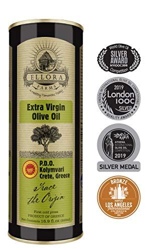 Ellora Farms | Single Estate (Kolymvari) Extra Virgin Olive Oil | Cold Pressed & Traceable | Certified PDO Koroneiki Olives, Crete, Greece | Kosher OU | BPA Free 17 Oz Tin