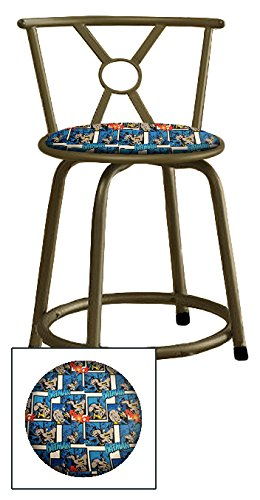 Custom Arcade Gaming Stool in a Bronze Metal Finish with a Swivel Seat and Backrest Featuring a Batman Comic Book Hero Themed Seat Cushion! (Batman Thwaack on Cotton) by The Furniture Cove