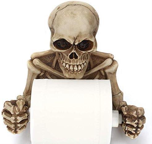 YASE-König Retro Wandbehang Schädel Papierhandtuchhalter Kreative Horror Gesicht Harz Rollenpapier-Halter Wohnzimmer Schlafzimmer Toilettenpapier-Rolle Halloween Karneval
