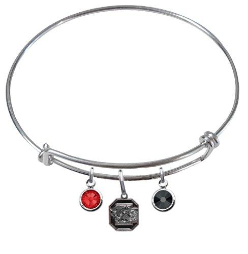 South Carolina Gamecocks Expandable Wire Charm Bracelet Bangle w/ Team Color Crystals