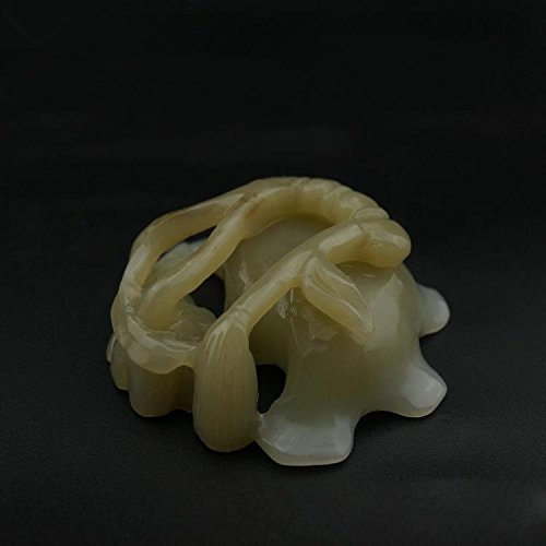 OLQMY Natural jade ashtrays, Xinjiang Hetian jade, white jade carved lotus leaf edge, wash incense burner, ashtray ornaments 5.01.8cm by OLQMY