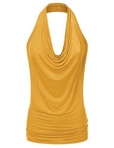 NINEXIS Women's Halter Neck Draped Front Open Back Top Mustard L