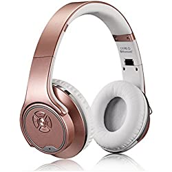 MH1 Foldable Wireless Bluetooth 3.0 On-Ear 2 in1 Headphones with Twist-out Speaker Stereo Headphone Headset (Rose-Gold)
