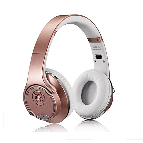 MH1 Foldable Wireless Bluetooth 3.0 On-Ear 2 in1 Headphones with Twist-out Speaker Stereo Headphone Headset (Rose-Gold) by Bradychan