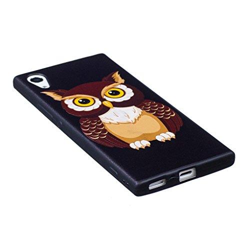 Trumpshop Smartphone Carcasa Funda Protección para Sony Xperia XZ + Flor rosa + Serie Talla Ultra Suave Flexibles TPU Silicona Resistente a arañazos Caja Protectora Linda búho