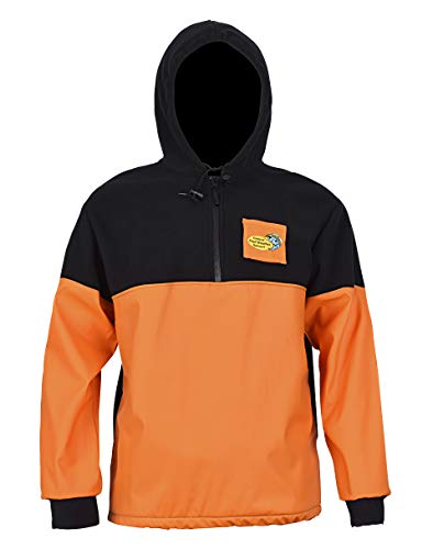 Navis Marine Workwear Foul Weather Gear for Men Rain and Fishing Hoodie Jacket with Softshell PVC (Half-Zipper Orange, XL) ()