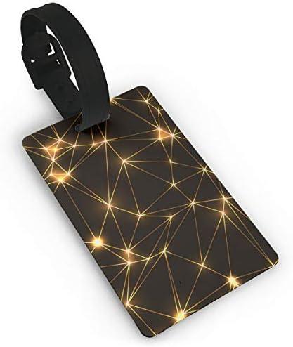 金色のネオンの三角形低ポリゴンの幾何学的な金色のネオンの星とライン着陸スーツケース荷物タグ旅行アクセサリー手荷物名札