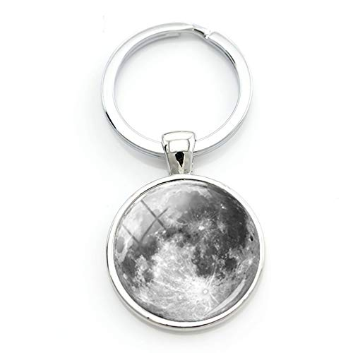 Moon Key - Rotating Moon Keychain Galaxy Space Key Holder with 3 Key Rings Jewelry Pendant Key Chain for Bag Backpack Decor Ornament (Silver)