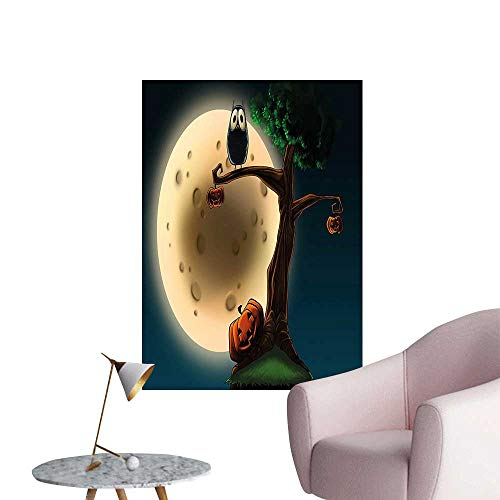 Vinyl Artwork Cute Spooky Halloween Large Eyed Owl and Pumpkin Picture Easy to Peel Easy to Stick,24