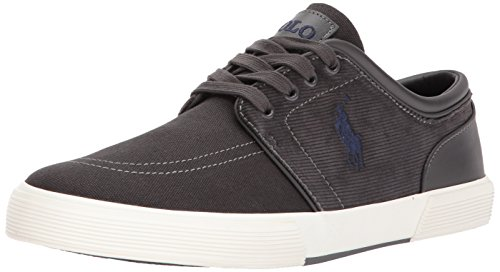 Polo Ralph Lauren Men's Faxon Low-Canvas/Corduroy Sneaker, Charcoal, 10 D - S Lauren Ralph Polo