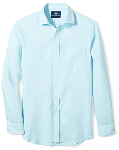 Buttoned Down Men's Classic Fit Spread-Collar Linen Sport Shirt, Aqua, 19-19.5