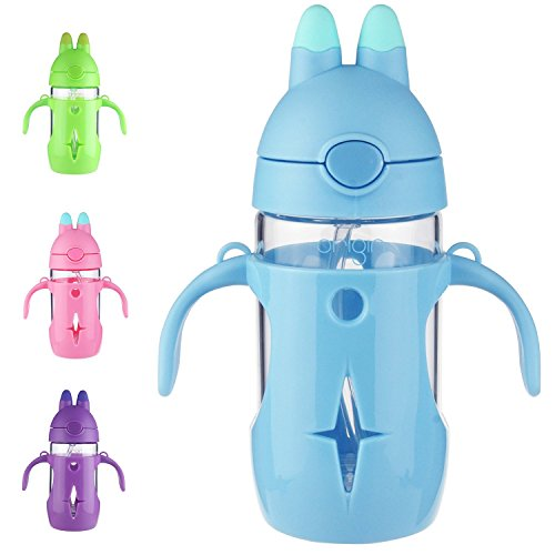 ORIGIN Best Kids BPA-Free Glass Water Bottle for Boys, Girls, and Toddler | Leak-Proof Flip Cap Lid | Protective Plastic Bunny Rabbit Sippy Cup Body with Handles, Silicone Straw | 10 Oz (Berry Blue)