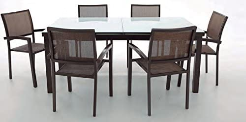 Mesa terraza extensible aluminio Coral 180/240x100 cm: Amazon.es ...