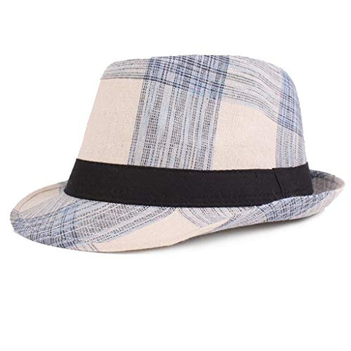Cap,Longay Spring and Summer Plaid Hats Jazz Hats Literary Youth Hat Middle and Old Hat (Blue) -