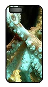 Protective PC Case Skin for iphone 5 Black PC Case Back Cover Shell for iphone 5S with Octopus