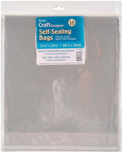 Darice 1115-19 18/Pack Plastic Self Sealing Bags, 11-1/4 by 14-1/4-Inch, Clear