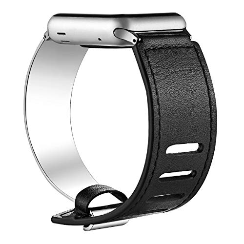 fastgo Compatible for Apple Watch Bands 38mm 40mm 42mm 44mm, Leather Stainless Steel Cuff Bracelet Strap Compatible for Iwatch Series 4 3 2 1 Women Girl Female Adjustable ()