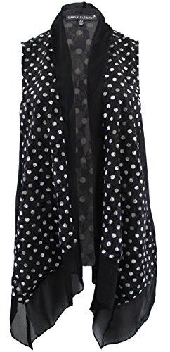 BNY Corner Women's Plus Size Floral Lace Chiffon Cardigan Open Front Vest Casual Top Polka 2X G170.40L-3