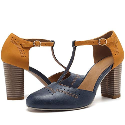 Geddard Heeled Sandals for Women Vintage Chunky Heels T Strap High Heels Cut Out Mary Jane Pumps Dress Shoes Darkblue ()